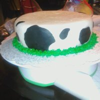 Cow Print Cake This was the bottom cake on a 2 tier stacked barnyard theme cake, done for a 91yr old farmer. I used MMF to decorate this cake, and bc...