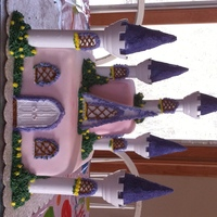 My Daughters 10Th Birthday Princess Castle Cake Chocolate and vanilla cake with buttercream frosting,