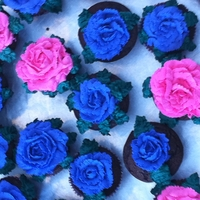Rose And Sunflower Cup Cakes Chocolate and vanilla cupcakes with buttercream frosting
