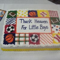 Sports Themed Baby Shower   This is my first official cake that I received money for! They wanted the cake to match the napkins being used.