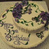 90Th Birthday Cake I made this cake for my Grandmother's 90th birthday.. She loves purple and hummingbirds so I tried to incorporate both. White Choc...