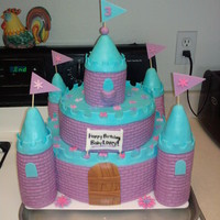 Austyn[Baby Lovey]'s Castle!! I made this for My friend's daughter's 3rd birthday! :) She wanted a blue and purple castle cake and was thrilled!!