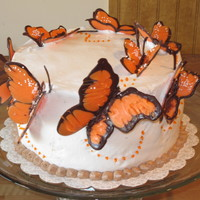 Butterfly Birthday Cake Buttercream cake with chocolate handmade butterflies.