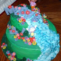 Tiered Dora Cake I made this one for a coworker's daughter. Looking at it now I wish i would've done a brighter color for the letters. Ah well......