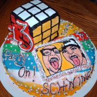 "80's Theme Party Cake I made this cake for my niece's 13th birthday partty. The ""picture"" is a BCT of her and her best friend at Halloween. They..."