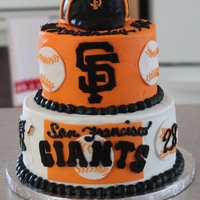 San Francisco Giants Birthday Cake   For a friends birthday. All buttercream with fondant accents. The hat is RKT. TFL! :)