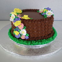 Basket Weave Cake Basket weave cake Chocolate buttercream with royal icing flowers