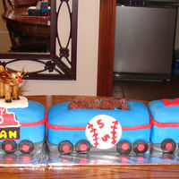 Chicago Cubs Train Cake  I made this cake for my nephew's 5th birthday, who loves the Chicago Cubs, trains, and Christmas. He insisted that I put a Santa,...