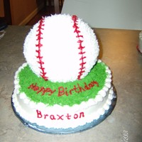 Baseball In The Grass 3D baseball cake on 8 in round covered in 'grass.'