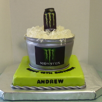 Monster Energy Drink Birthday Cake  Bucket is 1-8in and 2-9 in rounds of white chocolate cake with raspberry mousse filling covered with white chocolate ganache, sitting on a...