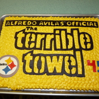 Terrible Towel   45th Birthday cake for my husband, the #1 Steelers Fan!