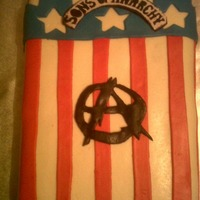 "Ryan's ""25Th"" Soa Cake This cake is inspired by one of my boyfriends favorite TV shows, The Sons of Anarchy. All of his presents were in this theme as well. The..."