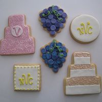 Wedding Cookies I did these as a sample. NFSC with Satin Ice, disco dust on grapes, luster dust on cakes.