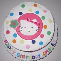 Hello Kitty Cake Butercream frosting with fondant accents. I copied a paper plate.