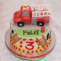 Fire Truck Cake Firetruck topper gumpaste and fondant.cake - WASC with cookie cream filling. Buttercream #3, spots and ladders.