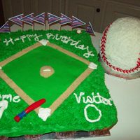 Homerun B-Day This was my son's 7th b-day cake. He wanted a baseball theme party and a real looking baseball to eat. The ball was 1/2 Chocolate and...