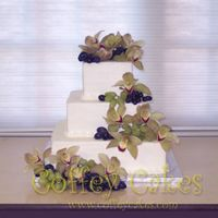 3 Tier Square Wedding Cake   3 tier square wedding cake with fresh orchids and grapes