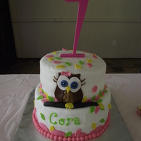 Owl Birthday Cake   this cake was for my grand daughter. I got my inspiration here on CC. The cake is iced with buttercream. The owl is made of fondant....