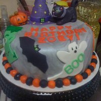 Halloween B Day Cake chocolate cake in fondant, all 50/50 gumpaste/ fondant decorations