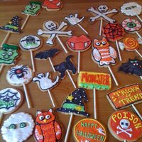Halloween Sugar Cookie Pops sugar cookies free hand cut out w royal icing decoration