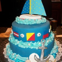 Sail Away This cake was created for a nautical themed baby shower. The nautical flags spell out BABY COLE. The boat, sails and anchor are detailed in...