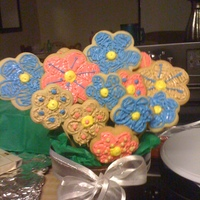 Cookie Bouqet Here is my first cookie bouquet that I have made. I am proud of myself! :}