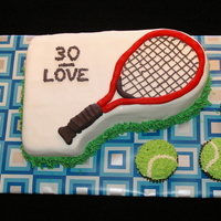 Tennis Themed Cake With Tennis Ball Cupcakes