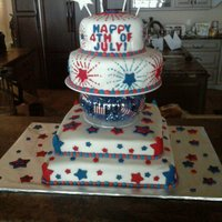 4Th Of July Cake My Mom and I worked together on this for a friend's party/BBQ. It had to be huge because there were close to 200 guests there. We were...