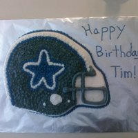 Dallas Cowboys Helmet Made this for my boyfriend's birthday. It is not the best, but I did the best I could given the circumstances. I had to bake the cake...