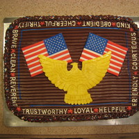Eagle Scout Cake Fondant eagle, flags. Words are white chocolate, frozen and placed on cake. That gave me more control of letters.