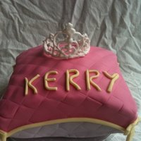 Pillow Cake   pink princess cake with royal icing tiara