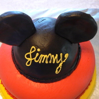 Mickey Ears Cake the hat and ears are MMF over RKT; wanted to add more detail but ran out of time. this was for my son's first birthday.