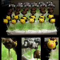 Jungle Cake Pops Elephant, lion and monkey themed cake pops.