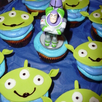 Toy Story Martians Iced with bc to look like the outfits. Head is fondant. I used a football cookie cutter for the head and a leaf cutter for the ears. The...