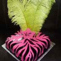 Zebra Diva Cake Covered in fondant, Zebra painted with gel coloring. Fondant Star. Feathers.