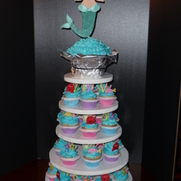Mermaid/under The Sea Cupcakes The topper is a gumpaste mermaid on top of a giant cupcake. The mermaid was made to resemble the little girl who was turning 5. The...