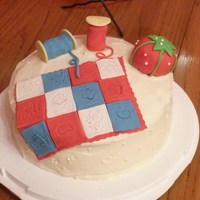 Independence Day Quilt Carot cake with cream cheese icing. All decor made from Satin Ice fondant and RKTs. A simple cute cake! It was a birthday cake for my mom-...