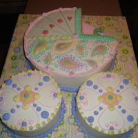 Baby Shower Baby Carriage Baby Carriage Baby Shower Cake. 16 inch round in 2 layers and two 8 inch cakes in 2 layers each. Cakes are covered in buttercream decorated...