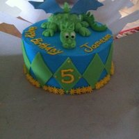 Dragon Cake covered in buttercream. Fondant dragon.