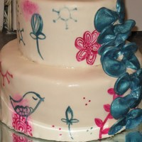 Whimsy Teal And Pink Shower Cake