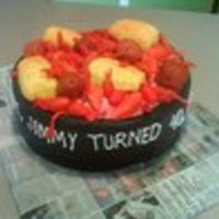Crawfish Cake Chocolate cake, MMF, fondant corn, potatoes, and crawfish for friends 40th birthday. TFL