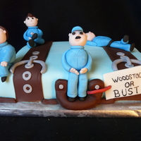 Luggage People Cake Chocolate slab cake made for 4 guys at Cambridge Toyota who were transferring back to the Woodstock plant. These guys work in the paint...