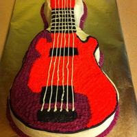 Guitar Cake Cake made using Wilton guitar cake pan. Decorated with butter cream