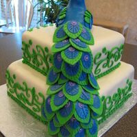 Peacock Birthday Cake   Thanks to many on CakeCentral for inspiration! The peacock is RKT. First time using RKT and I'm addicted!