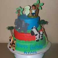 3Rd Birthday Jungle Cake I made this cake for my son's 3rd Birthday. It's composed of 3 layers with each being White, Chocolate and Strawberry. I used...