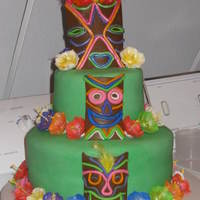 Tiki Luau Cake I made this for my daughters 10th birthday. I made everything from fondant.