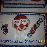 Basketball Signing Party. My daughter singed to go on and play basketball at Cottey college. This cake is buttercream Icing with fondant covered basketball and net....