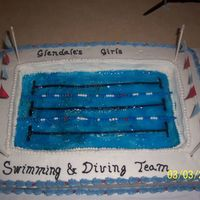 Swimming Banquet This is a cake for a swimming banquet it is buttercream icing that I cut out th middle and used glazing colored blue and put flag at both...