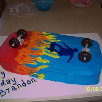 Skateboard Cake This cake was made for a boy that loves skateboarding. It is buttercream icing with fondant struts and wheels.