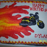 Motorcycle And Flames THIS IS A BUTTERCREAM TRANSFER MOTORCYCLE MADE FOR BIRTHDAY FLAMES ARE FREE HAND.